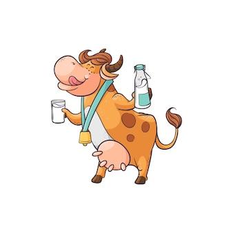 Grappige koe consumptiemelk van glas en fles, schattige stripfiguur permanent met grappig gezicht van heerlijke drank, platte hand getrokken boerderij dieren vectorillustratie geïsoleerd