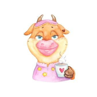 Grappige koe met een kopje koffie
