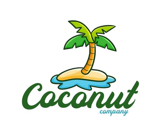 Grappige kokosnoot bedrijfslogo sjabloon