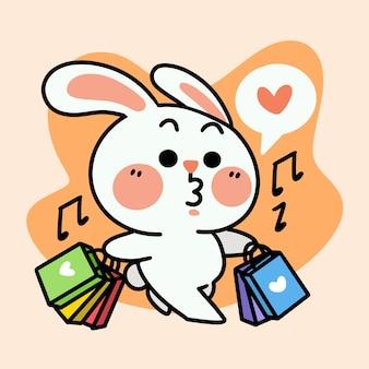 Grappige konijntje genieten van winkelen karakter doodle illustratie