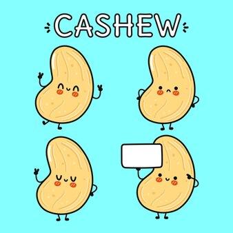 Grappige leuke vrolijke cashew stripfiguren bundel set