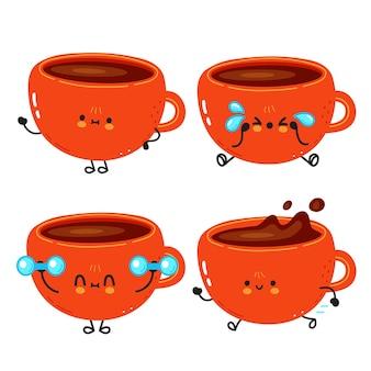 Grappige leuke vrolijke kop koffie stripfiguren bundel set
