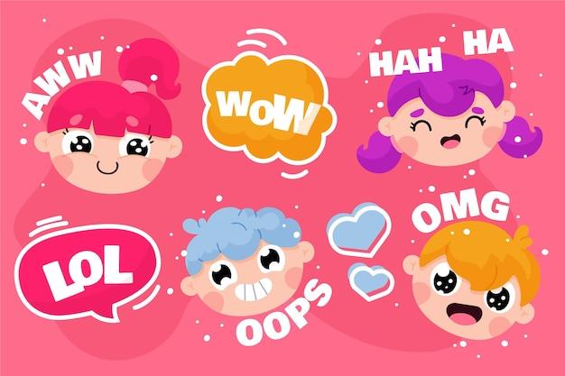 Grappige lol stickers iconen
