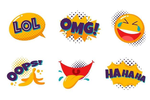 Grappige lol stickers set