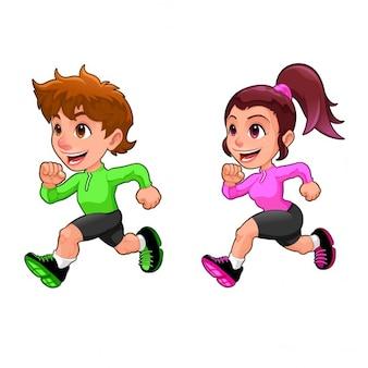 Grappige lopende jongen en meisje cartoon vector geïsoleerde karakter