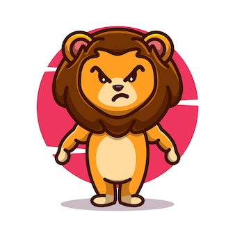 Grappige machtige boze leeuw mascotte pictogram vector illustratie platte cartoon concept