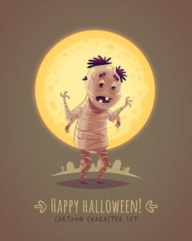 Grappige mama. oud-egyptisch lichaam. halloween stripfiguur concept. illustratie.