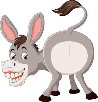 Grappige mascotte van de beeldverhaal de grappige ezel