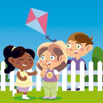 Grappige meisjes en jongen met vliegerbeeldverhaal, kinderenillustratie