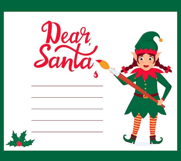 Grappige meisjeself met een kwast schrijft een brief aan de kerstman.