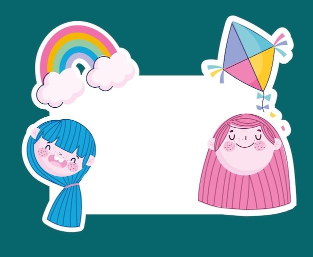 Grappige meisjesgezichten met regenboogvlieger en bannermalplaatje, kinderillustratie
