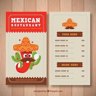 Grappige mexicaanse voedsel menusjabloon