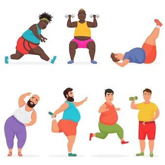 Grappige mollige dikke man tekenset gym training oefeningen doen. sport fitness.