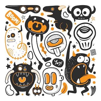 Grappige monster hand getrokken doodle vector