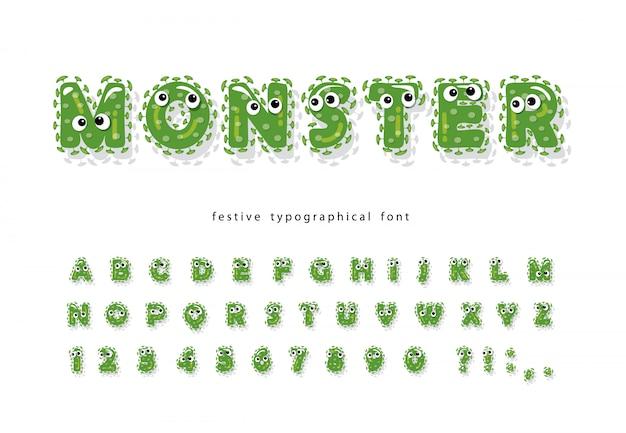Grappige monster kinderen lettertype.