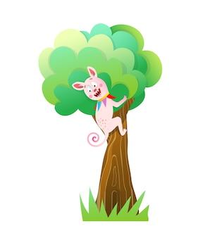 Grappige moster zittend op een boom, schattig wezen glimlachend gelukkig bedrijf boomstam. leuk wezen voor kinderfeestje of festival.