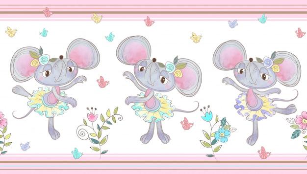 Grappige muis dansen naadloze rand