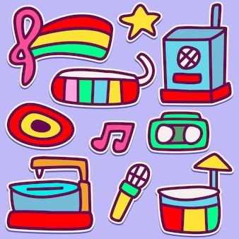Grappige muziek doodle design