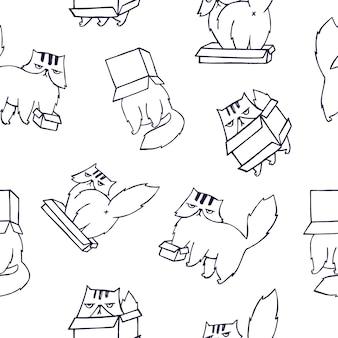 Grappige naadloze patroon met perzische kat spelen met kartonnen doos op wit