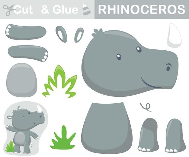 Grappige neushoorn staande. educatief papieren spel voor kinderen. uitknippen en lijmen. cartoon illustratie