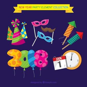 Grappige nieuwe jaarfeest element collectie