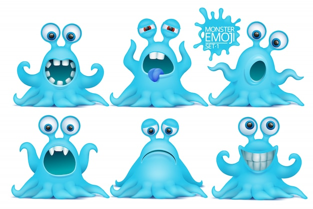 Grappige octopus emoji monster tekenset.