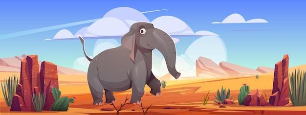 Grappige olifant lopen op woestijnlandschap wild dier stripfiguur op verlaten natuur achtergrond ...