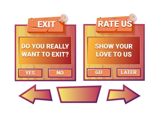Grappige oude houten game ui exit en beoordeel ons pop-upmenu-interface met knoppijl voor gui asset-elementen