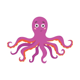 Grappige paars lachende octopus