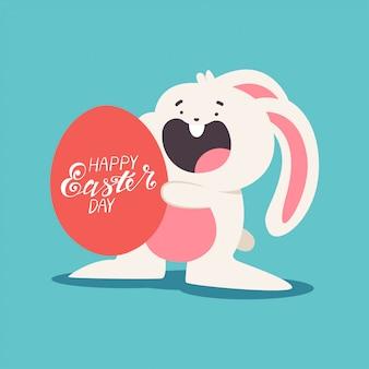 Grappige paashaas met eieren en hand belettering cartoon illustratie geïsoleerd op de achtergrond.