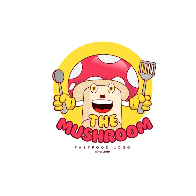 Grappige paddestoel logo vector mascotte