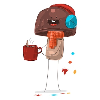 Grappige paddestoel met warme koffie kopje vector herfst stripfiguur geïsoleerd op een witte achtergrond.