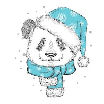 Grappige panda in een kerstmuts en sjaal. vector illustratie.