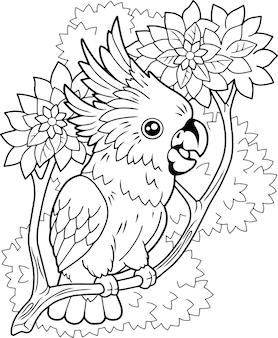 Grappige papegaai kaketoe illustratie