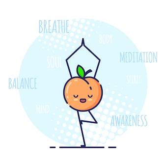 Grappige perzik karakter staande in boom pose vrikshasana. yoga lessen.