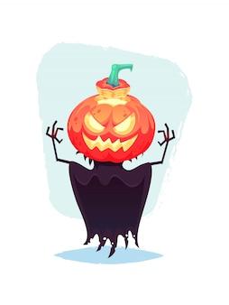 Grappige pompoen vogelverschrikker met gesneden boos gezicht emotie cartoon halloween illustratie