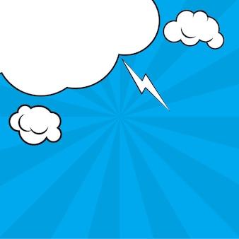 Grappige pop-art blauwe achtergrond met halftone schaduwen en wolkenstralen.