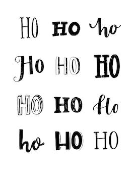 Grappige poster met het woord ho geschreven in verschillende stijlen typografie print kerstontwerp