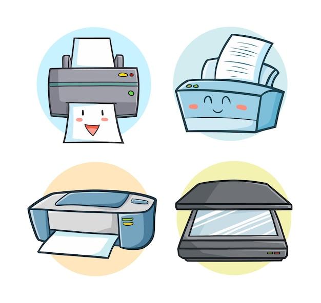 Grappige printer en scanner in kawaii doodle-stijl
