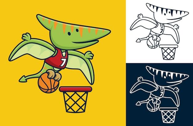 Grappige pterodactylus die basketbal speelt. vectorbeeldverhaalillustratie in vlakke pictogramstijl