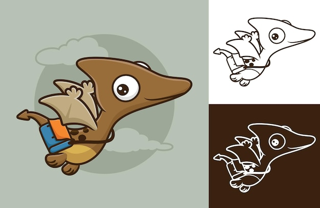 Grappige pterosauriër die vliegt terwijl hij een tas draagt. vectorbeeldverhaalillustratie in vlakke pictogramstijl