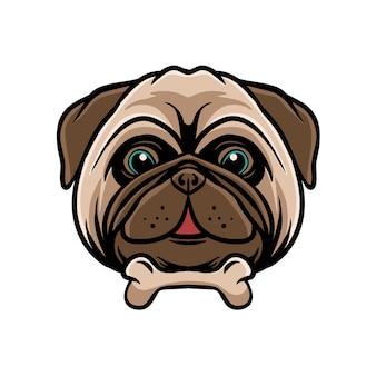 Grappige pug dog met bot