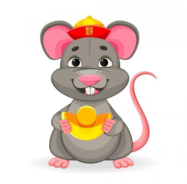 Grappige rat, symbool van nieuwjaar 2020