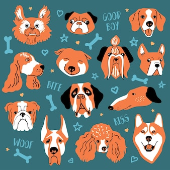 Grappige reeks hondengezichten. kleurrijke vectorillustratie