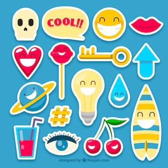 Grappige reeks kleurrijke stickers