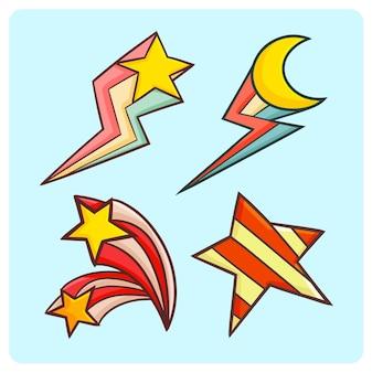 Grappige retro ster en maancollectie in doodle stijl