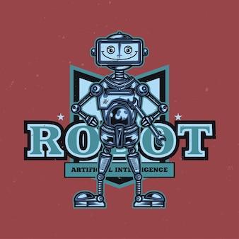 Grappige robot illustratie