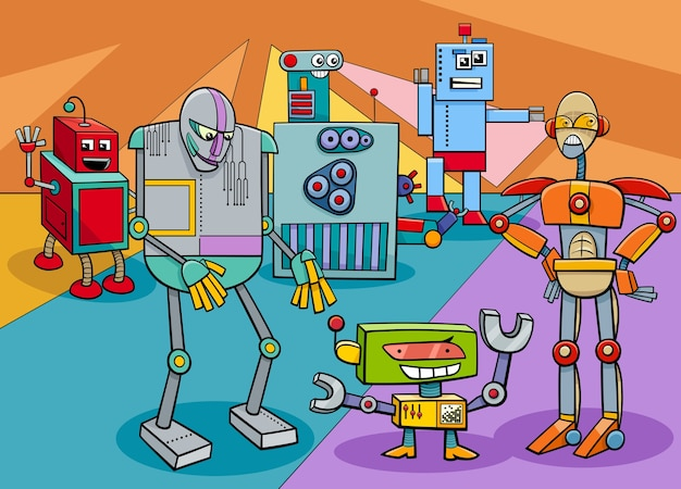 Grappige robot tekens groep cartoon afbeelding