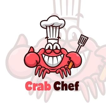 Grappige rode krab die chef-hoed draagt en spatel brengt