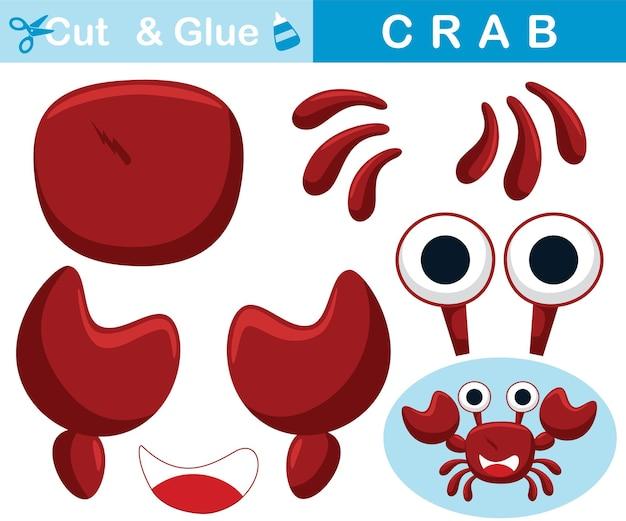 Grappige rode krab. educatief papieren spel voor kinderen. uitknippen en lijmen. cartoon illustratie